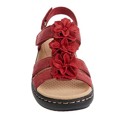 ZLZNX Sandalias Mujer Chanclas Tacon de Cuña Plataforma del Verano Cómodos bierta Sandalias Moda Zapatos Tacon para Caminar,Rojo,36CN