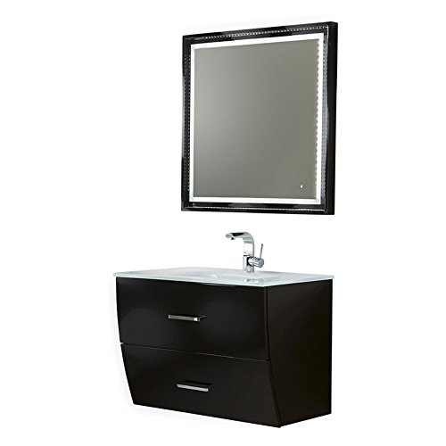 Fresca Platinum Wave 32 Inch Glossy Black Modern Bathroom Vanity