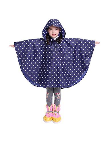 Kids Stylish Rain Poncho Waterproof Rain Jacket Coat for Girls Boys (deep Blue, S)