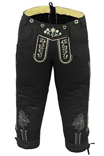 German Wear Damen Trachten Kniebundhose Jeans Hose kostüme mit Hosenträgern in der 4X Farben, Größe:42, Farbe:Schwarz
