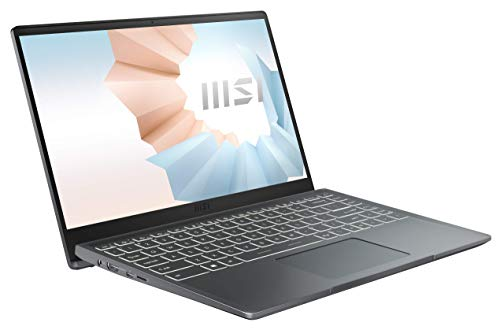 MSI Modern 14 B11M-028 (35,6 cm/14 Zoll/Full-HD) Premium Laptop (Intel Core i7-1165G7, 8GB RAM, 512GB PCIe SSD, Intel Iris Xe Grafik, Windows 10) Carbon-Grau