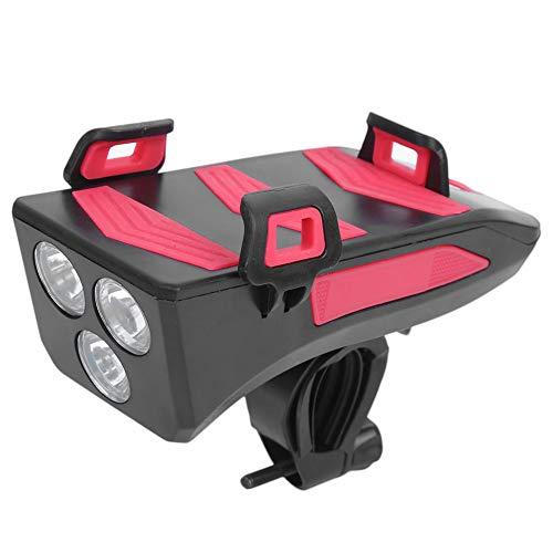 TWOC-QPD Conjunto De Luz De Bicicleta LED USB Recargable, Faro De Bicicleta Ultra Brillante WTIH Soporte De Teléfono Móvil Y Altavoz 4 En 1 Kit