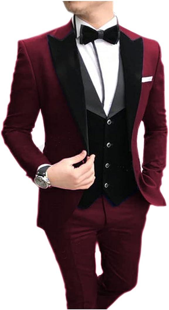 Jiaoyunshi Men Suits Slim Fit-3 Piece Notch Lapel Tuxedo Groomsmen V Neck White Men Suit Wedding Jacket Vests Pants