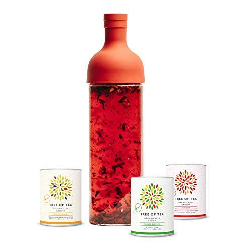 Eisteeflasche Probierpaket - Tree of Tea - 3x Bio-Blatt-Tee - 750ml Eisteeflasche rot - Geschenkverpackung - Bio-Tee von mymuesli