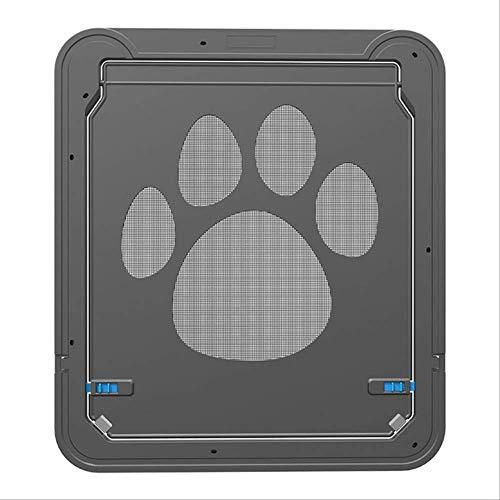NRYBH Katzenklappe Innentür Screen Door Dog Footprint Pattern Haustier Katze Tür Fenster Screen Doggie Flap Safe Pet Supplies 42X37CM Schwarz
