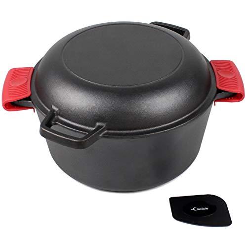 Horno holandés de hierro fundido con tapa de sartén – 26 cm de diámetro, 5 qt – Olla de cocina múltiple para freír, cocinar, hornear y asar + 2 agarraderas de silicona