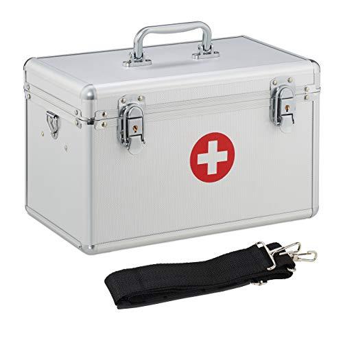 Relaxdays Caja Medicamentos con Correa para Botiquín de Primeros Auxilios, Plateado, Aluminio, 19 x 32 x 20 cm