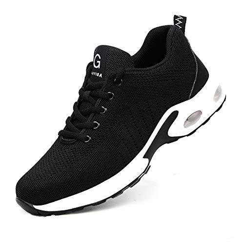 Kefuwu Herren Damen Sicherheitsschuhe S3 Arbeitsschuhe Sneaker Schutzschuhe Stahlkappe Leicht Atmungsaktiv(schwarz 91, 45)