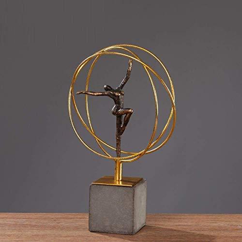 FTFTO Equipo de Vida Estatua Adorno Escultura Estatua Ballet Retro Figuras de niña Hierro Gimnasia Arte Deportivo Escultura Artesanías de Metal Decoraciones para Salas de Estar