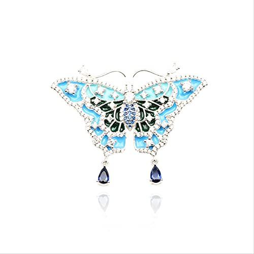 YYUKCDOG De Gama Alta Luz De Lujo con Micro Incrustaciones De Mariposa 925 Broche De Plata Esmalte Azul Claro Broche De Insectos Accesorios De Ropa Femenina
