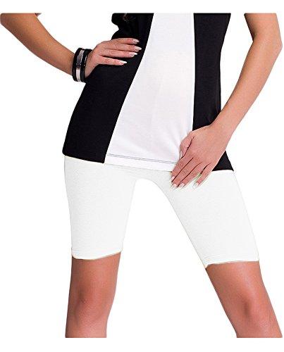 Damen kurze Leggings / Shorts / Radlerhose aus Baumwolle (M, Weiß)