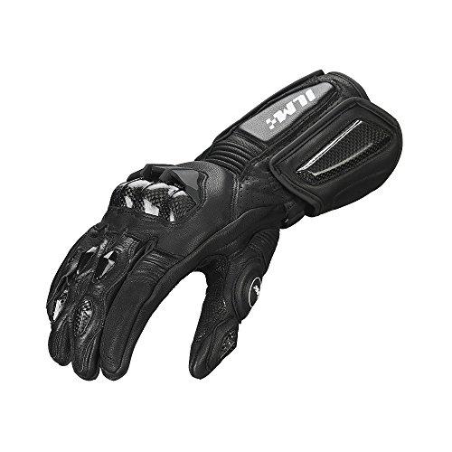 Air Flow Leder Motorrad Handschuhe für Männer und Frauen(XL,Schwarz,Winter)