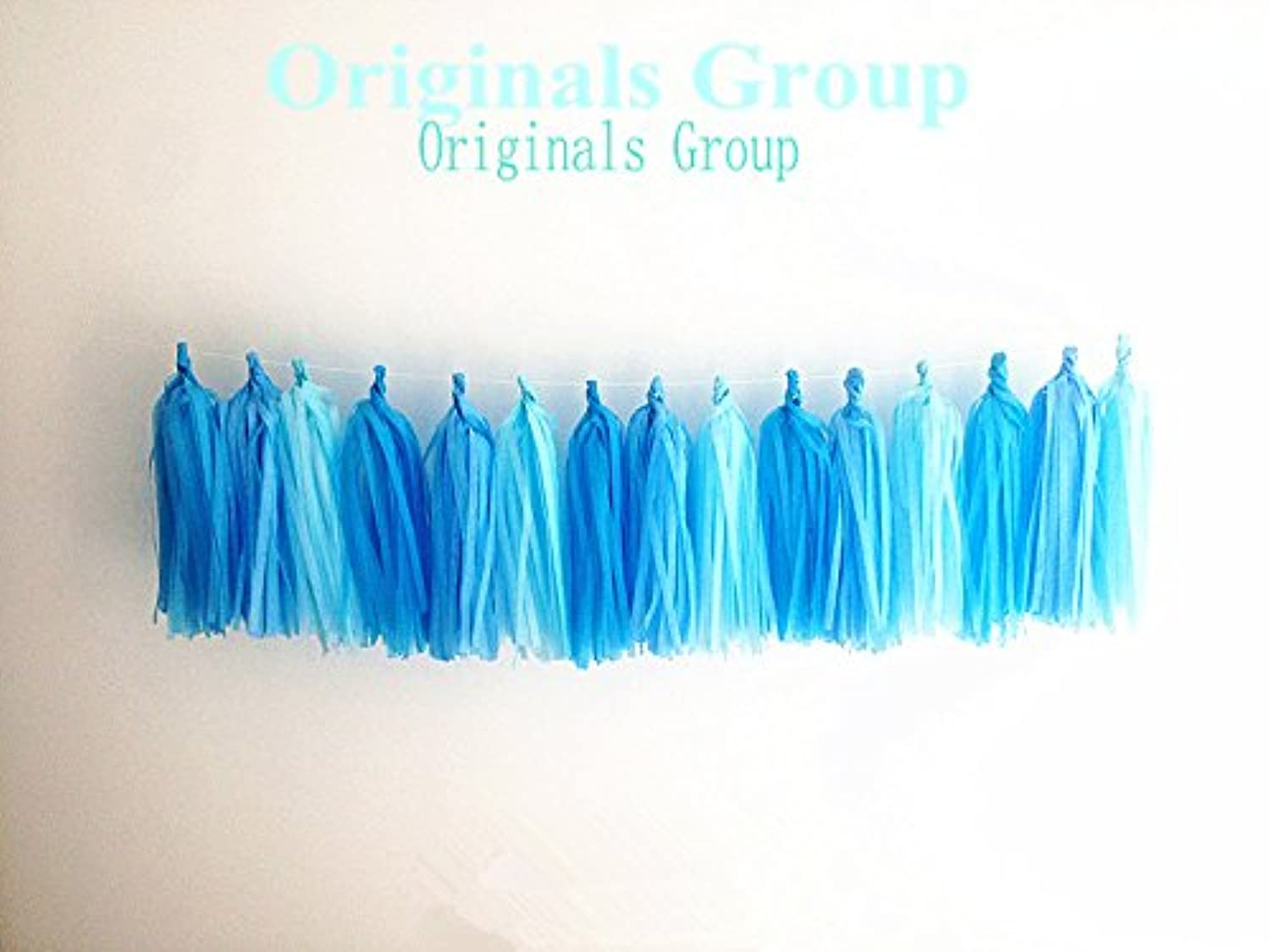 12 X Aqua Tissue Paper Tassels for Party Wedding Gold Garland Bunting Pom Pom