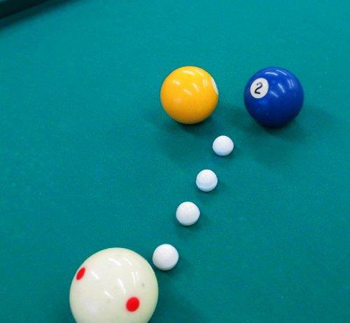 VARIACIONES SOBRE DOS JUEGOS PISCINA en una mesa de 6 pockets. : 1. 1-2-Rail Rail Billar con disparos de bolsillo. 2. Cinco bolas de rotación con 3 bolas.