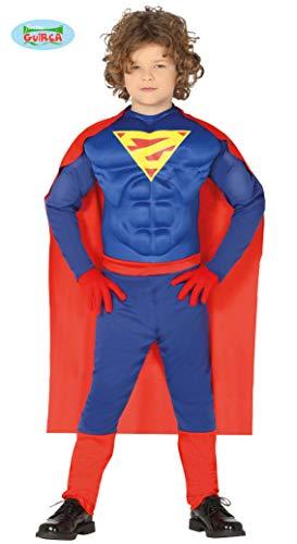 Guirca Costume Vestito Abito Travestimento Carnevale Halloween Bambino Supereroe MUSCOLOSO, Superman (3/4 Anni)