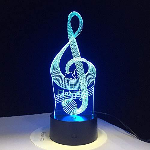 3D Ilusión óptica Lámpara LED Luz de noche Deco LED Lámpara 7 colores de control remoto con Acrílico Plano & ABS Base & Cargador usb-Nota