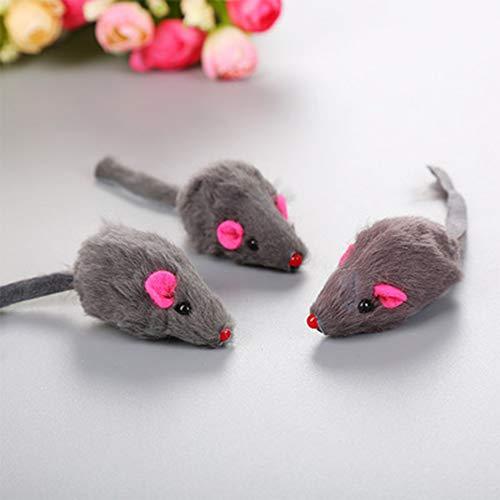 ETbotu Heimtierbedarf Mini lustiges Spielen simulieren Plüschmaus mit Tonspielzeug für Haustierkatze grau