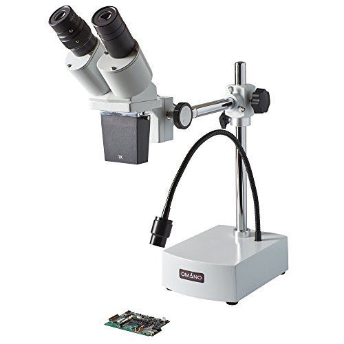Omano 10X Integrated Boom Stereo Inspection Microscope with 3W LED Gooseneck - OM-B10-L