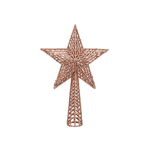 PMS Glitter Collection Christmas Tree Decoration - 18cm Tree Top Star Rose Gold