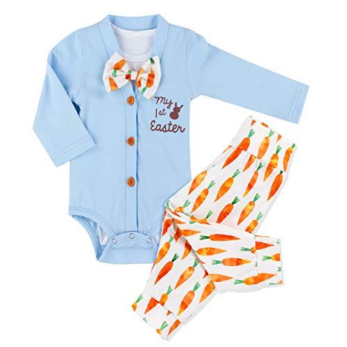 Baby Boys My 1st Easter Romper Long Sleeve Bodysuit + Radish Pants Outfit 3PCs Sets 6-9 Months Blue
