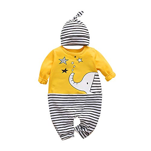 Yorten Macacão de bebê Cute Elephant Pattern com Cap Snap Button Opening One Piece Jumpsuit recém-nascido