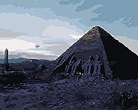 油絵 数字キットによる デジタル インテリア キャンバスの油絵子供 ホーム オフィス装飾 40x50センチ-夕暮れ時のピラミッド_額装