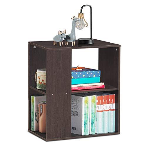 COSTWAY Beistelltisch mit Ablage und Stauraum, Bücherregal Couchtisch Nachttisch Holz, Sofatisch für Wohnzimmer, Schlafzimmer 52x29,5x60cm (Braun)