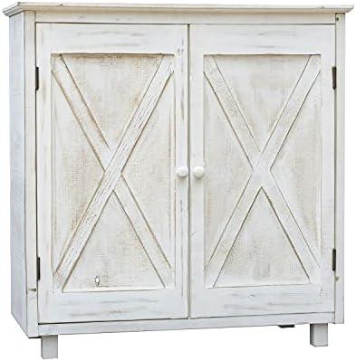 2 Barn Door Accent Wood Storage Cabinet, Whitewashed...