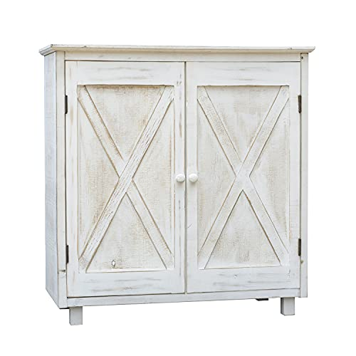 2 Barn Door Accent Wood Storage Cabinet, Whitewashed Wood Floor Cabinet for Living Room Bedroom Entryway, Farmhouse Style Furniture, 32-1/4'H
