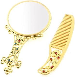 Patrón eDealMax Flor compacto Regalo del maquillaje cosmético del Espejo peine conjunto Dorado