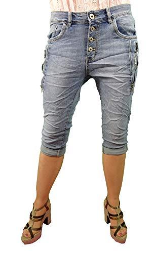 Karostar by Lexxury, bermuda da donna in denim, pantaloni corti, jeans con bottoni, con chiusura lampo decorativa. Blu Medio XXXXL