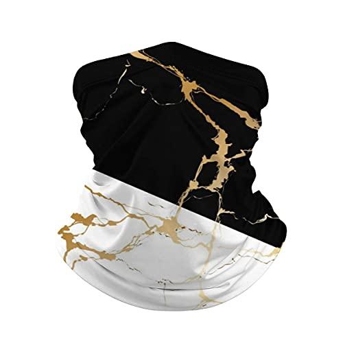 asdew987 Lujo oro mármol abstracto negro blanco cuello polaina máscara cara bandana calentador de cuello frío viento ligero hielo seda bufanda para hombres mujeres