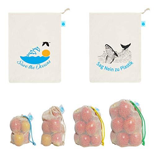 OzeanKonzept® Obst und Gemüsebeutel, Obstnetz Wiederverwendbar Inkl. Saisonkalender für Obst und Gemüse, Einkaufsnetze, Obstbeutel aus Bio-Baumwolle, Zero Waste – 8 Stück