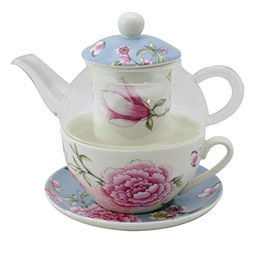 Grace Teaware 5-Piece Glass Porcelain 10-Ounce Tea For One With Infuser (Blue Magnolia/Rose)