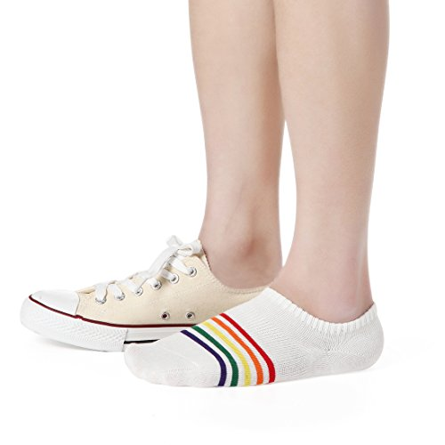 6 Pairs Casual Low Cut Ankle Socks Women Breathable Liner Short Crew Sneaker Socks for Running Walking Fitness Outdoor Sports, One Size, 6 Pairs Rainbow