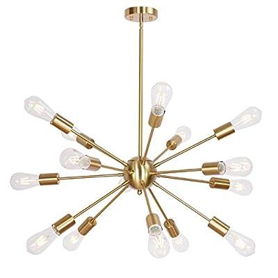 MELUCEE 15 Lights Sputnik Chandelier Pendant Industrial Ceiling Light Flush Mount for Dining Room Kitchen Living Room Hallway