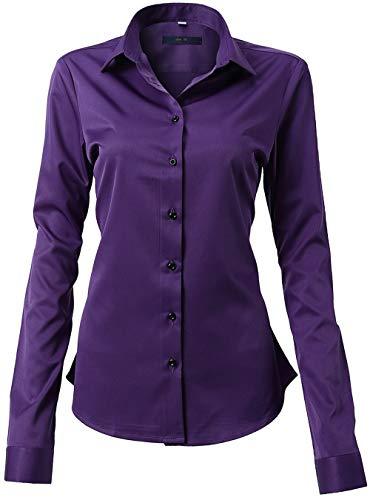 FLY HAWK Damen Hemd Bluse Basic Bambusfaser Hemdbluse Slim Fit Arbeitshemden Langarm Stretch Hemden Freizeit Business Elegant Hemd Größe 34 bis 52,Violett,44 (UK 16)