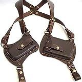 TZH Retro Leather Underarm Bag Medieval Steampunk Rivets Double Shoulder Holster Bag Wallet Bag Adjustable Anti-Theft Portable Armpit Bag,Black