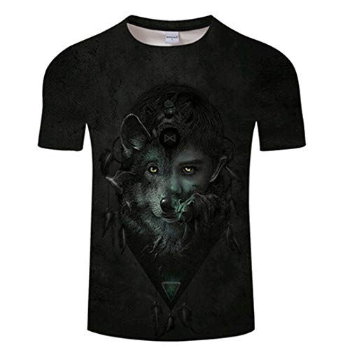 Kisbcynesting Combattere Lupo Tshirt Uomo Donna T Shirt Via clothing3D T-Shirt T di Estate a Maniche Corte Top Unisex O-Collo TX585 Asian M