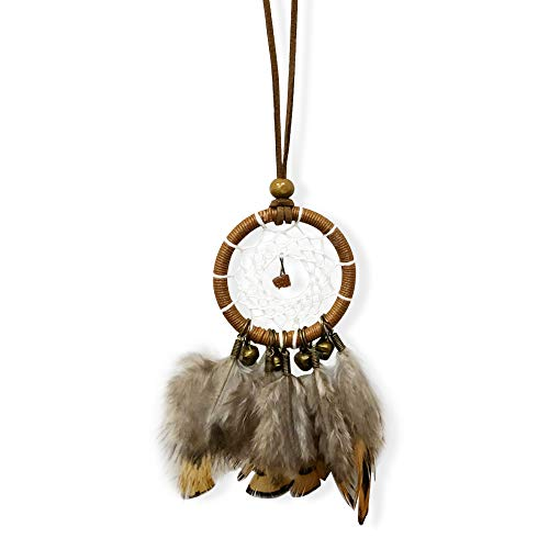 "YGMONER Brown Dream Catcher Car Interior Rearview Mirror Dangle 2"" Diameter and 10"" Long"