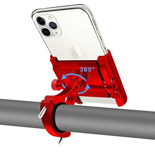 REETEE Handyhalterung Fahrrad Aluminium Motorrad Handy Halterung mit 360°Drehbarer Anti-Shake Motorrad Smartphone Halterung Scooter Universal für 4.0-6.8 Zoll Smartphone GPS Andere Geräte (rot)