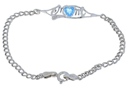 Elizabeth Jewelry 0,50ct Herz MOM Simuliert Blau Topas & Diamant Armband 925Sterling Silber Rhodium Finish