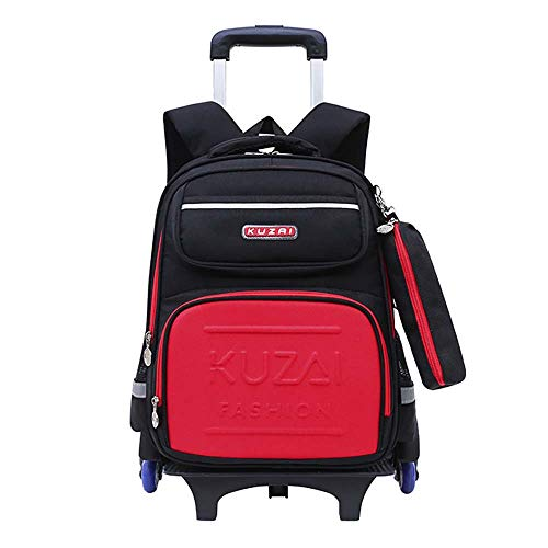 Waterproof Wheeled Rolling Backpack for Girls and Boys School Laptop Books Bag School Bags for Boys with Wheels Blue GWBI-black