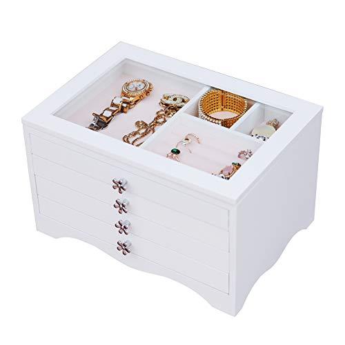 Dainty Schmuckkästchen Weiß Schmuckbox Damen Groß 4 Ebenen mit 3 Schubladen mit Glasdeckel für Ohrringe, Halsketten, Armbänder, Uhren, Haarnadeln