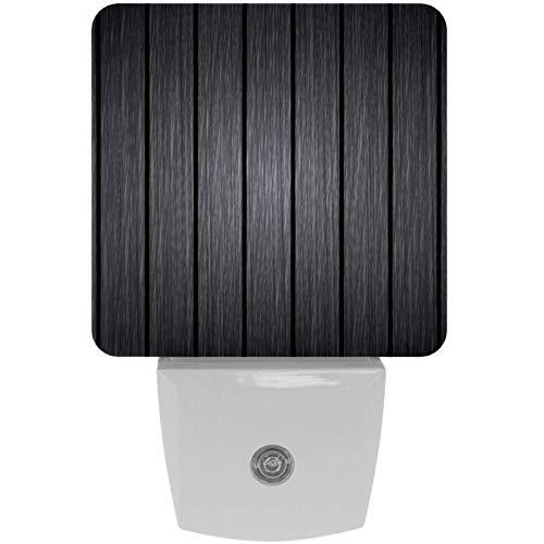 Lámpara LED de noche con impresión de fondo de madera, color gris, con sensor de movimiento automático del atardecer al amanecer, apto para dormitorio, baño, escaleras, cocina, pasillo