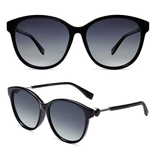 SOJOS Gafas de sol polarizadas redondas de gran tamaño para las mujeres retro protección UV SJ2147