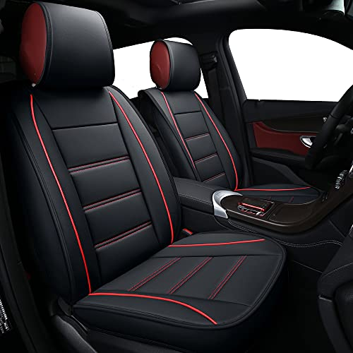 TKAAKT Car Seat Covers, Faux Leatherette Automotive Vehicle Cushion Cover for Cars SUV Pick-up Truck Universal Fit Set for Auto Interior Accessories- B-Front-(Black-Red)