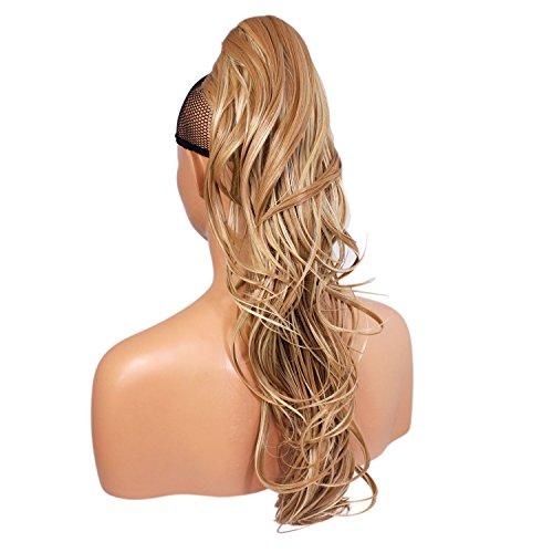 Pince à queue de cheval - Blond Mix # 18/613 - Flick - 22 pouces / 56 cm - 200g - Réversible - Synthétique résistant à la chaleur - Clip dans le morceau de cheveux - Ressemble à de vrais cheveux