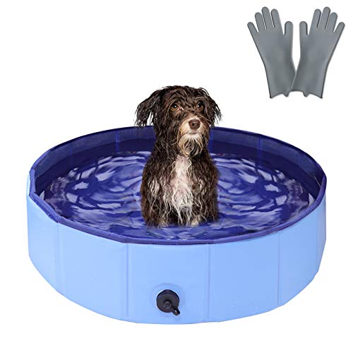 """RQN 32"""" Foldable Dog Pool for Outdoor Backyard,Portable Pet Pool for Kid Baby Pet Dog Cat with Gloves"""