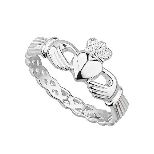 Failte Claddagh Ring Sterling Silver Woven Band Women's Celtic Weave Made in Ireland Size 6.5